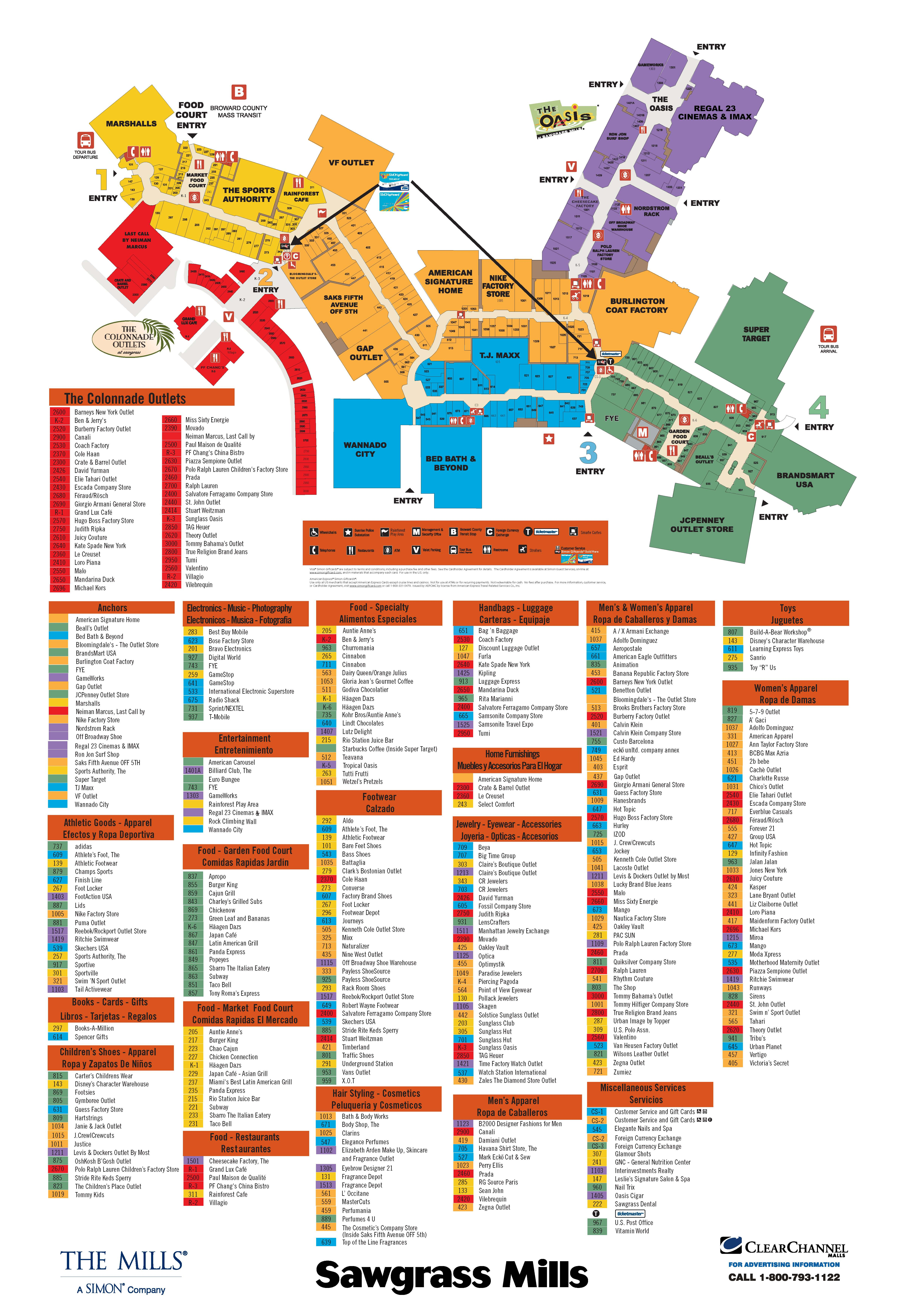 Sawgrass Mills Store Map