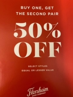 Buy one get the second pair 50% Selected styles
