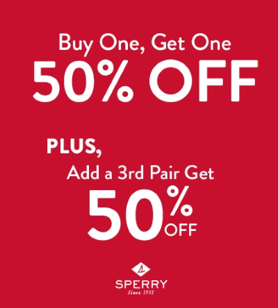 50% OFF Your 2nd and 3rd Pair at Sperry