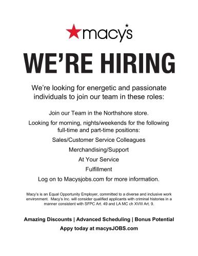 Macy's We're Hiring